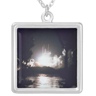 Space Shuttle Launch Silver Plated Necklace