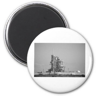 Space Shuttle on Launch Pad in Black and White 6 Cm Round Magnet