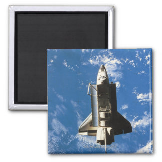 Space Shuttle Orbiting Earth 2 Square Magnet