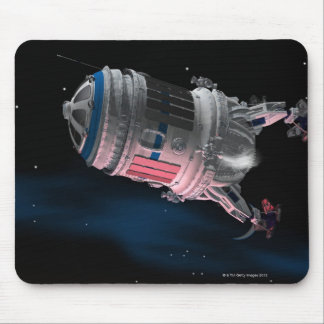 Space Shuttle Orbiting Mars Mouse Mat