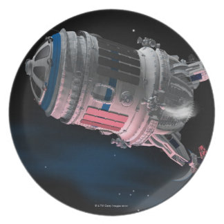 Space Shuttle Orbiting Mars Plate