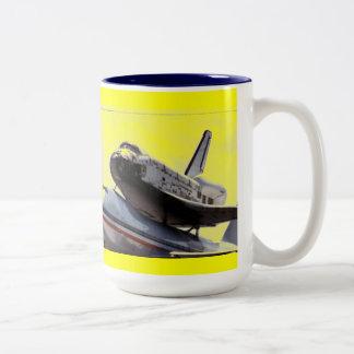space shuttle piggy-back Two-Tone coffee mug