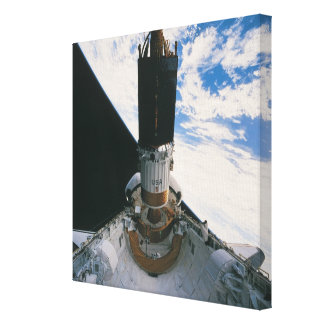 Space Shuttle Releasing Satellite Stretched Canvas Print