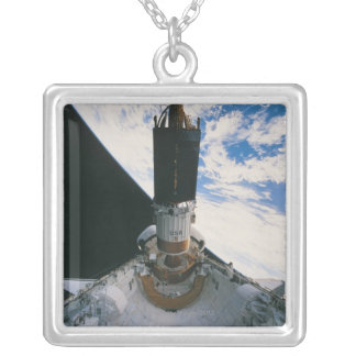 Space Shuttle Releasing Satellite Silver Plated Necklace