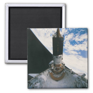 Space Shuttle Releasing Satellite Square Magnet