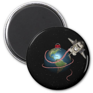 Space Shuttle STS Santa Christmas 6 Cm Round Magnet