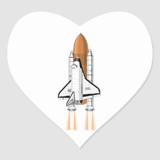 Space Shuttle Thrusting into Space Heart Sticker