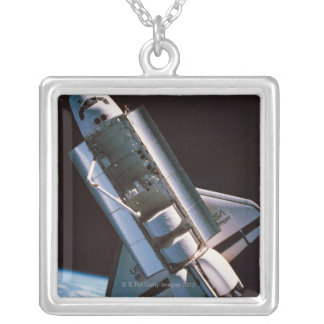 Space Shuttle with Open Cargo Bay Silver Plated Necklace