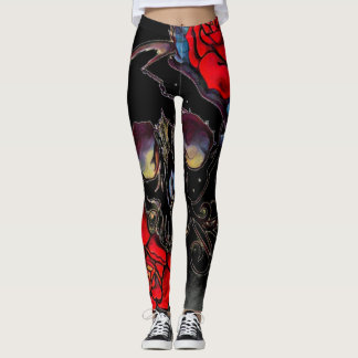 space skull roses leggings