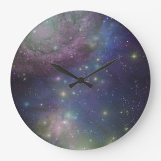 Space, stars, galaxies and nebulas large clock
