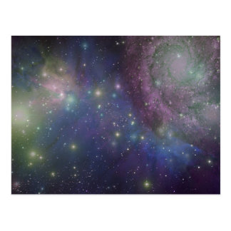 Space, stars, galaxies and nebulas postcard