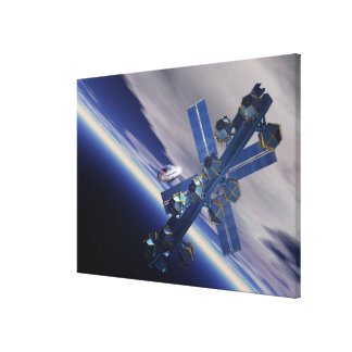 Space station. Computer artwork of a space 3 Gallery Wrapped Canvas