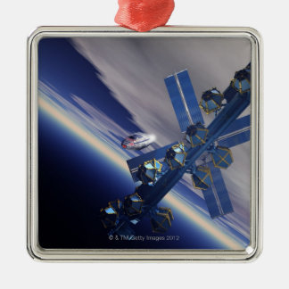 Space station. Computer artwork of a space 3 Silver-Colored Square Decoration