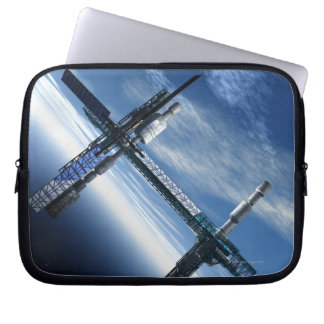 Space station. Computer artwork of a space Laptop Sleeve