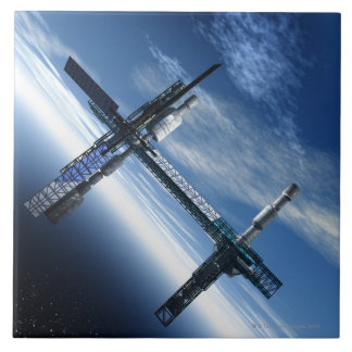 Space station. Computer artwork of a space Large Square Tile