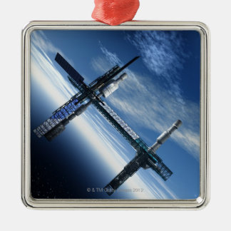 Space station. Computer artwork of a space Silver-Colored Square Decoration