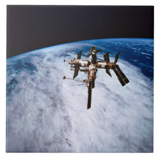 Space Station in Orbit 11 Large Square Tile