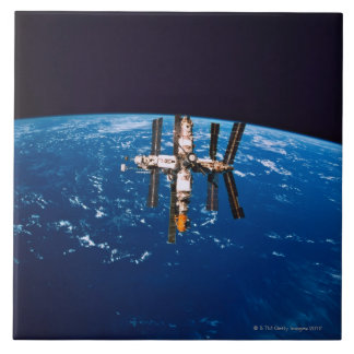 Space Station in Orbit 5 Large Square Tile