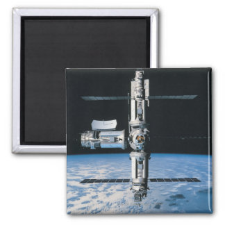 Space Station in Orbit 7 Square Magnet