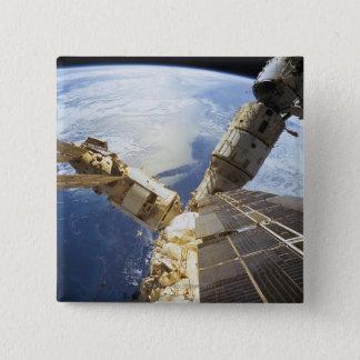 Space Station in Orbit 8 15 Cm Square Badge