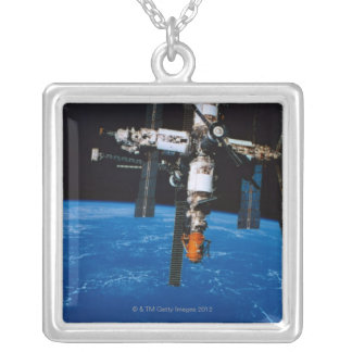 Space Station in Orbit Silver Plated Necklace