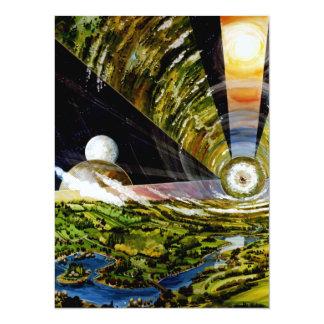 Space Station of Future - Interior View 14 Cm X 19 Cm Invitation Card