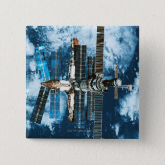 Space Station Orbiting Earth 15 Cm Square Badge