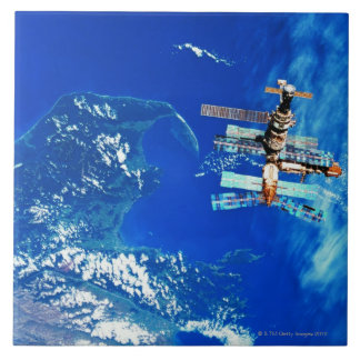 Space Station Orbiting Earth 2 Tile