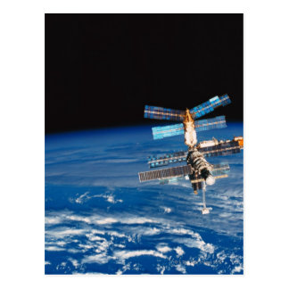 Space Station Orbiting Earth 3 Postcard
