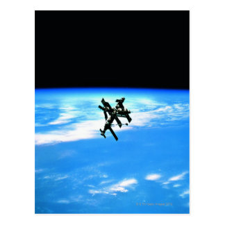Space Station Orbiting Earth 4 Postcard