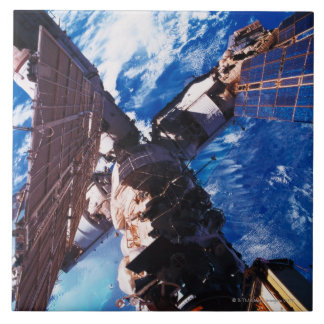 Space Station Orbiting Earth 5 Large Square Tile