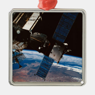 Space Station Orbiting Earth 6 Silver-Colored Square Decoration