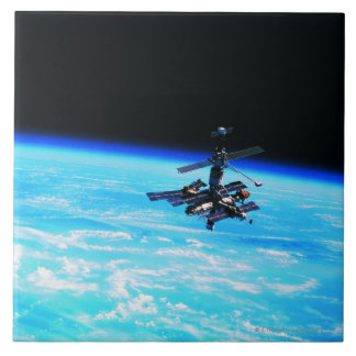 Space Station Orbiting Earth 7 Tile