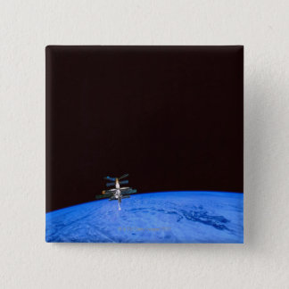 Space Station Orbiting Earth 8 15 Cm Square Badge
