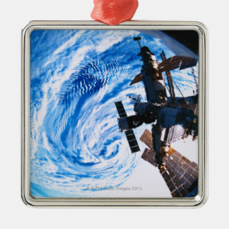 Space Station Orbiting Earth 9 Christmas Ornament