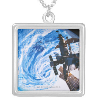 Space Station Orbiting Earth 9 Silver Plated Necklace