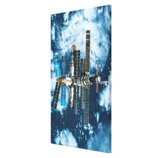Space Station Orbiting Earth Gallery Wrapped Canvas