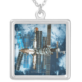 Space Station Orbiting Earth Silver Plated Necklace