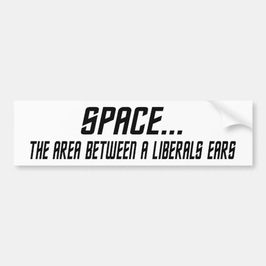 Space, The Area Between A Liberals Ears Bumper Sticker