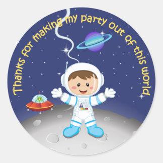 Space Theme Boys Birthday Thank You Round Sticker