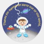 Space Theme Boys Birthday Thank You Sticker
