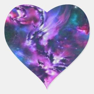 space themed heart sticker