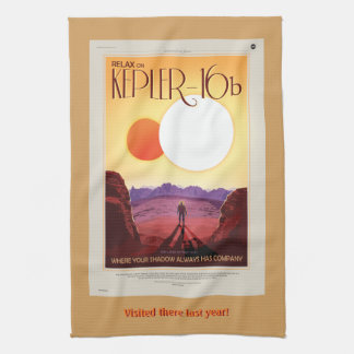 Space tourism ad: Relax on Kepler 16b vacation Tea Towel
