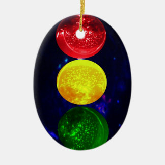 Space Traffic Light Double-Sided Oval Ceramic Christmas Ornament