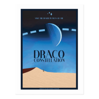 Space Travel Postcard - Draco Constellation