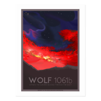 Space Travel Postcard - Wolf 1061b