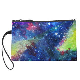 Space traveller spatial galaxy painting wristlet