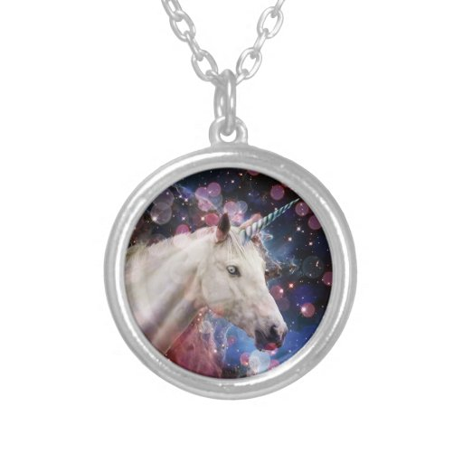 Space Unicorn With Bokeh Necklace