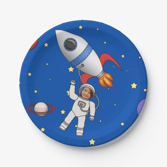 Space Walk Astronaut and Rocketship Photo Template Paper Plate