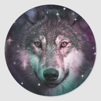 Space Wars Wolf Face Animal Design Classic Round Sticker